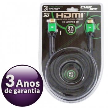 Cabo HDMI 2.0 Premium 4K Ultra HD 3D Chip Sce - 19 Pinos - 3 metros - 018-0320