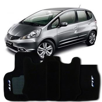 Tapete Carpete Preto Honda New Fit 2009 2010 2011 2012 2013 2014 - Personalizado com logo bordado nos tapetes frontais