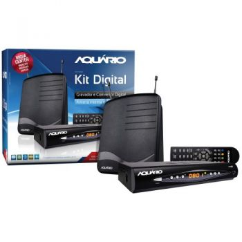 Kit Conversor Digital para TV DTV8100 Preto AQUÁRIO