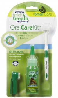 TROPICLEAN KIT FRESH BREATH CLEAN TEETH GEL+ESCOVA DE DENTE+DEDEIRA (GEL REMOVEDOR DE TÁRTARO) 59ml -